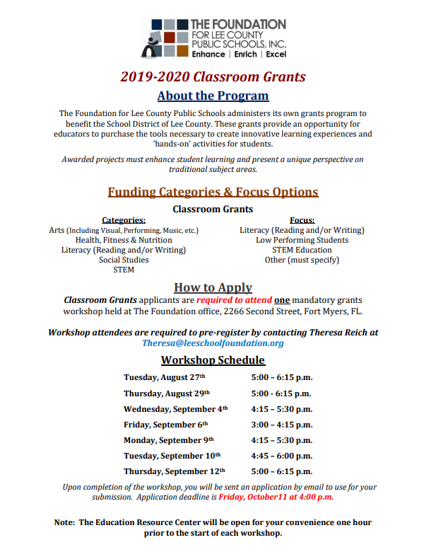 Focus Lee County >> Classroom Grants Foundation For Lee County Public Schools